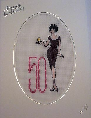 Birthday Card Completed Cross Stitch Glamorous Lady 50th 8x6""