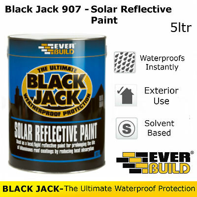 907 Solar Reflective Paint | Everbuild Black Jack | Weatherproof Protection