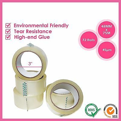 72 Rolls Clear Packing Tape Box Carton Packaging Sticky Tape 75M X 48Mm Sealing