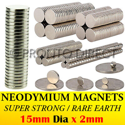 Neodymium Magnets (15mm Dia x 2mm) N35 Super Strong Disc Rare Earth Craft Disk