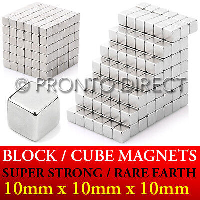 Neodymium Block Magnets *10mm Cube* N35 Super Strong Powerful Rare Earth Craft