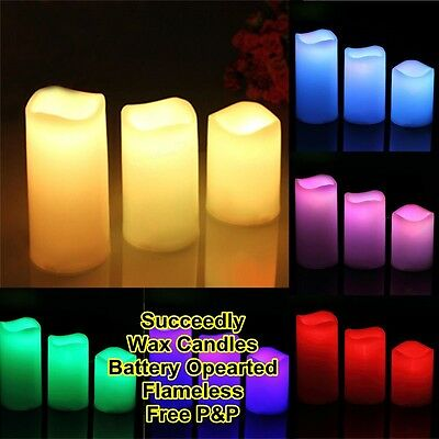 3 LED Flame less Wax Candle LED Candle Set Lights Wax Flame les Battery Operated