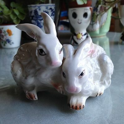 Porcelain England(?) Pair Of White Rabbits Hand Painted FREE Shipping Mint!
