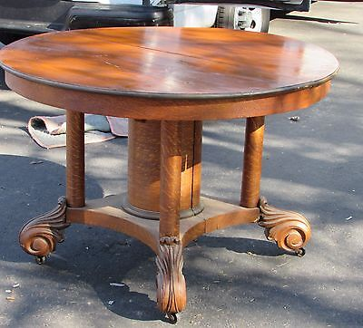 Antique Victorian Oak Round Dining Room Extension Table AS - IS No Leaves