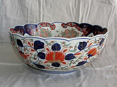 Antique Japanese Imari Porcelain Bowl Large w/ Scalloped Rim