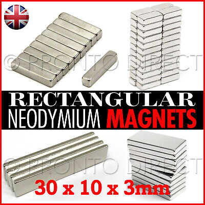 50 Neodymium Magnets (30 x 10 x 3mm) Rectangle Rectangular Super Strong Craft