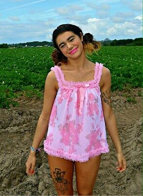 WOMEN'S/LADIES VINTAGE 1960s CLOTHES, PINK BABY DOLL CHEMISE SHORTS/KNICKER SET