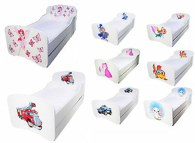 JUNIOR TODDLER WOODEN BED WITH DRAWER WHITE FREE MATTRESS 140x70cm many designes