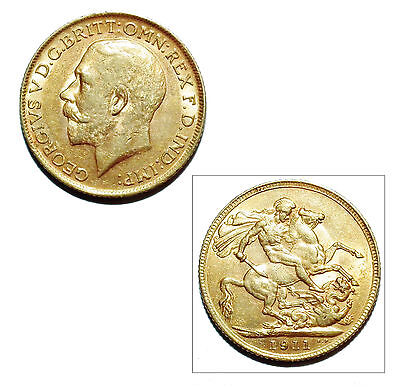 Pre-Owned 1911 Full Sovereign 22ct Gold Coin. King George V #3