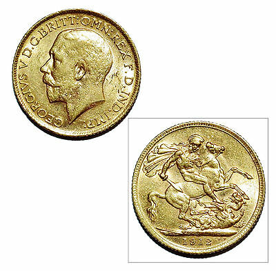 Pre-Owned 1912 Full Sovereign 22ct Gold Coin. King George V