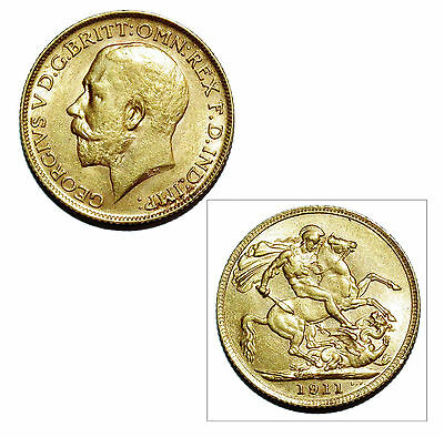 Pre-Owned 1911 Full Sovereign 22ct Gold Coin. King George V