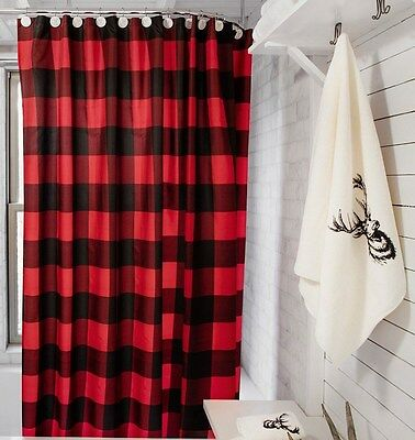 Buffalo check SHOWER CURTAIN Water proof fabric 70X70 RED BLACK chic bathroom