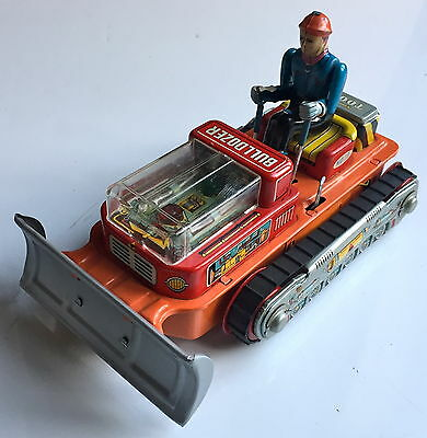 Vintage Nomura Japan Tinplate Bulldozer Tractor Battery Operated ~ Working Order