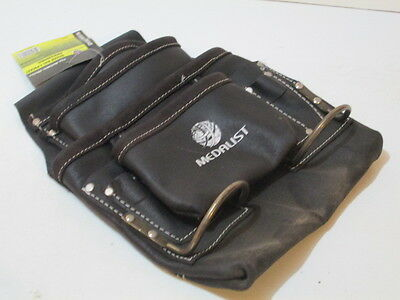Riggers or Electricians leather tool or nail bag with metal hammer holder