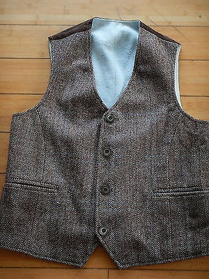Vintage Mens Mixed Brown Blue Check Tweed Wool Country Waistcoat Vest Size 34 XS