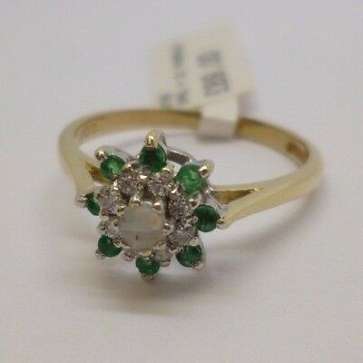 9ct yellow gold emerald, CZ and opal cluster ring with full British hallmark