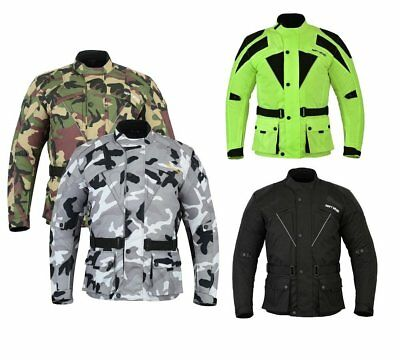 Mens Motorcycle Motorbike Cordura Jacket Waterproof Textile Black CE Armoured