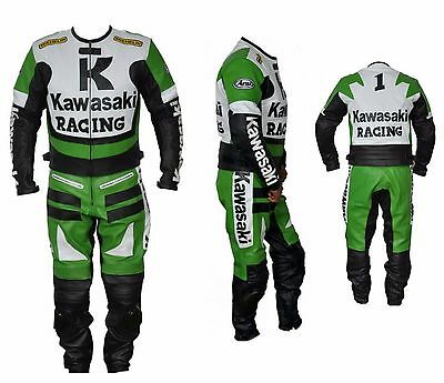Kawasaki Leather Suit Motorbike Leather Suit Men Racing Leather Suit(Replica)