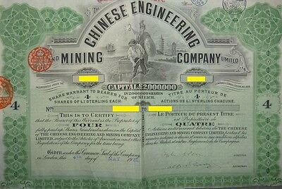 China  Chinese Engineering &  Mining Compagy   4 Bearer Shares of £1 each