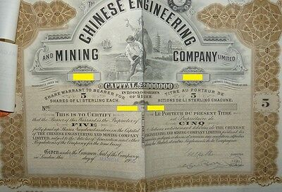 China   Chinese Engineering &  Mining Compagy   5 Bearer Shares of £1 each