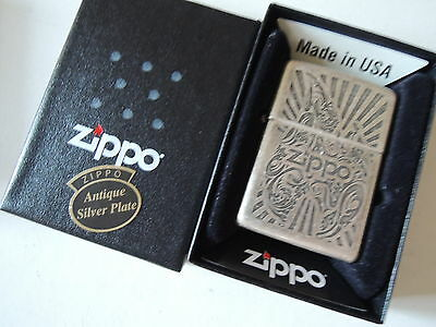 Authentic Zippo Lighter - Antique Silver Plate 324479 - No Inside Guts Insert