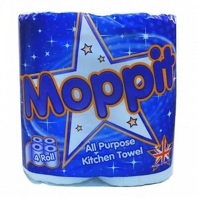 24 Kitchen Towel Rolls Moppit White 2Ply ( 6 Packs Of 4 Rolls )