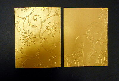 Embossed GOLD METALLIC PAPER x 10 **13cm x 10cm- Scrapbooking - ,Cardmaking,
