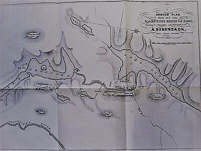Opalescent River, Lakes Sandford & Henderson, Adirondacks Original Map 1843