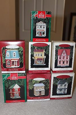Lot of 7 Hallmark Nostalgic Houses & Shops Christmas Ornaments 1990's