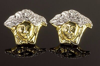 Medusa Head White Gold and Gold Tone Screw Back Hip Hop Stud Earrings