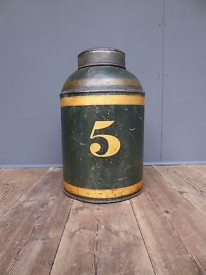 Beautiful Antique Late 19th Century Toleware Shop Tea Canister Tin