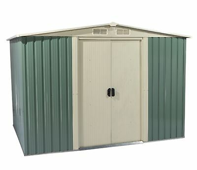 FoxHunter Garden Shed Metal Apex 10 X 8FT Outdoor Storage Free Foundation LGreen