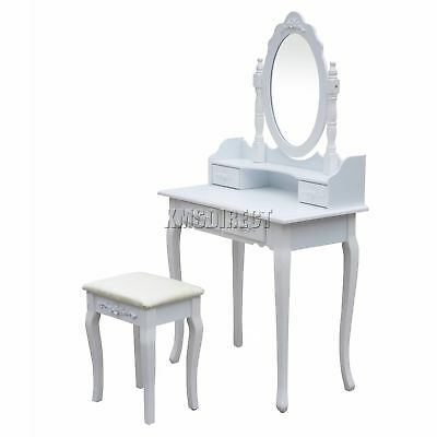 FoxHunter Makeup Dressing Table Set With Stool 4 Drawer Mirror Jewelry Desk Wood