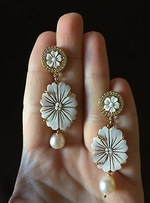 Cameo earrings 925 sterling golden sardonic zircon flower pearl made in Italy