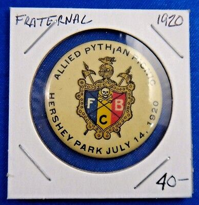 1920 Knights of Pythias Allied Pythian Picnic Fraternal Pin Pinback Button