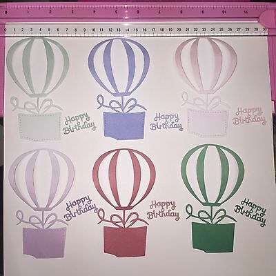 Die Cuts! 12 Pc 'Hot Air Balloons + Happy Birthday'  Ombré Cardstock