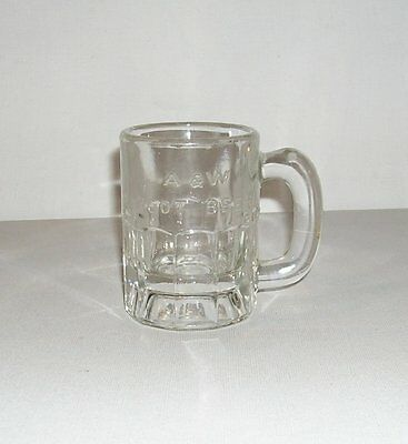 """Vintage A&W Root Beer Baby Mini 3.25"""" Mug,Clear Raised Letters Logo SHIPS FREE"""