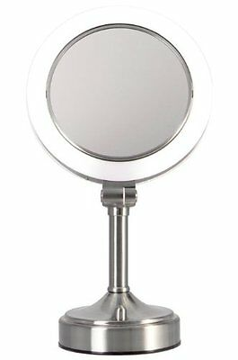 Zadro Dimmable Sunlight Vanity Makeup Dual Sided Mirror Satin Nickel 10X-1X