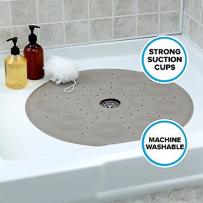 "Round Shower Mat with Suction Cups: 23"" Diameter, Tan Mat by SlipX Solutions"