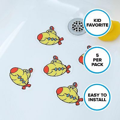 Submarine Tub Stickers (5 Pack): Yellow & Red Bath Anti-Slip Treads