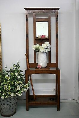 Antique Oak Solid Timber Mirrored Hall, Hat, Umbrella Stand c.1930