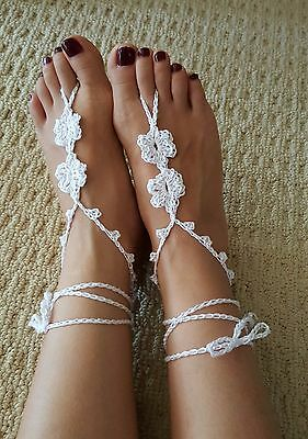 Handmade Adult Girl bridal beach wedding Barefoot sandals foot accessories