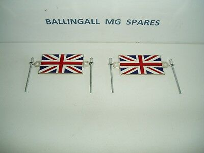 Mg Union Jack Badges X 2 (Pair) With Alloy Rivets  - Traditional Enamel 215-608
