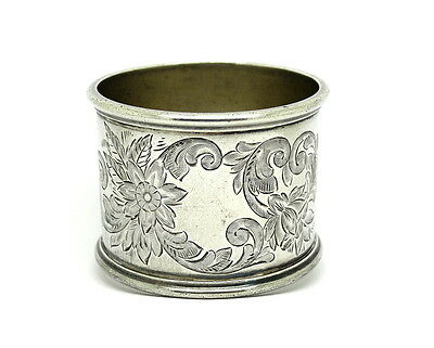 Antique WATROUS MFG Co NAPKIN RING Sterling Silver Floral Filigree Holder #105 W