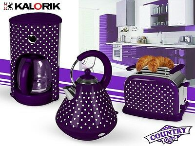 Breakfast Set 3pcs. electric kettle Toaster Coffee machine purple - white