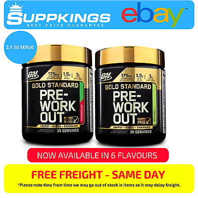 2 X  Optimum Nutrition Gold Standard Pre-Workout 30 Serve