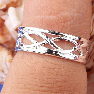 New Design Cut-Out Patterned Adjustable Stamped Sterling Silver Plated Toe Ring