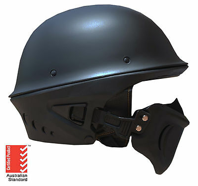 Chopper Open Face Helmet Matt Black Harley Motorbike Motorcycle Cruiser Scooter