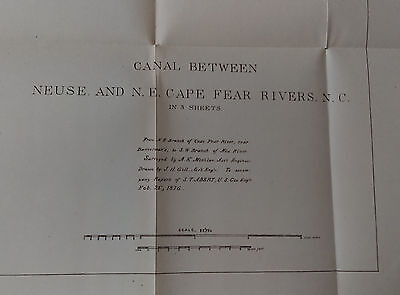 1876 Canal between Neuse and Cape Fear Rivers North Carolina Map