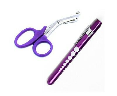 "PURPLE Trauma Paramedic Shears Scissors 7.5"" + LED Reusable PenLight Pupil Gauge"
